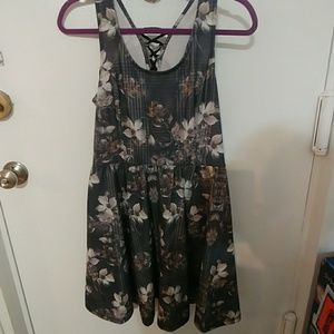 Gray floral print dress